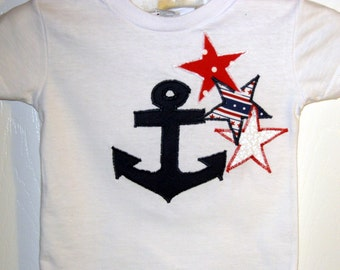 Anchor and Stars Applique White Tshirt - 24 mth -Red, White and Blue