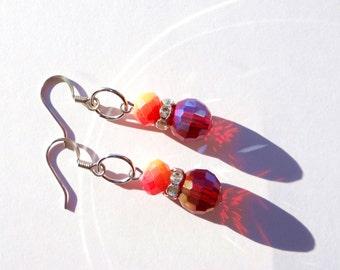 Sunset Red Bead Earrings