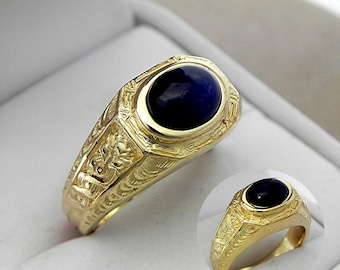 AAAA  Blue Sapphire Cabochon 9x7mm 2.66 Carats Heavy 14K Yellow gold Antique Vintage  styled MAN'S ring 15 grams. 1776