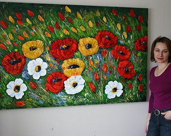 SUMMER FLOWERS--Modern Original Palette Knife Impasto Oil Painting Custom Painting LARGE