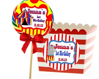 """Circus Sticker Labels for Girls or Boy's Birthday ~ Personalized Any Age (STICKERS ONLY) (Set OF 12, 3"""" Round Labels) Just Peel and Stick!"""