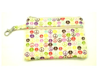 Larger Zippered Wallet Change Purse Gadget Case Small Peace Signs on Cream 5260