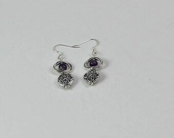 Amethyst and Silver Lentil Earrings