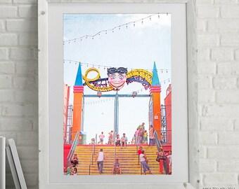 "Carnival Theme Art Prints // Coney Island Theme Park Photography // Nursery Decor & Kids Room Art // Orange Red, Pink, Blue - ""Tillie Gate"""