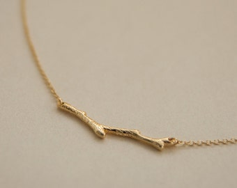 gold branch necklace - tree necklace - gift for her- gift under 10- gold tree twig necklace - simple minimalist necklace