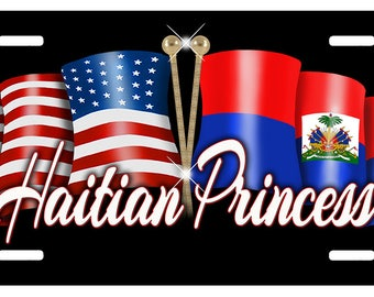 USA Haitian Unity Flags Auto License Plate Personalize Gifts Any Name  Or Text Many Color Backgrounds America Haiti