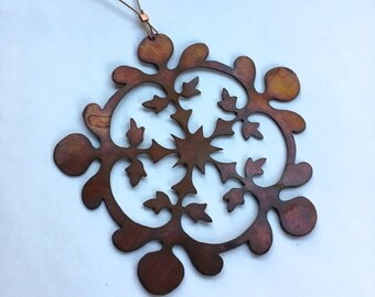 hand cut copper snowflake Christmas ornament I
