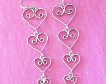 EARRINGS Sterling Graduated Open HEARTS Vintage