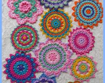 PDF Crochet Pattern- Mini Mandala Doilies (12 different designs)