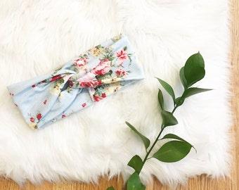 M A M A // Turban Headband - Soft Blue Floral