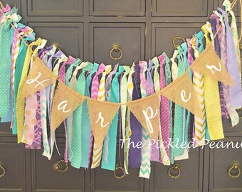 Burlap Birthday Banner Nursery Burlap Banner Name Banner Burlap Bunting Burlap Garland Happy Birthday Highchair Banner Nursery Name Banner