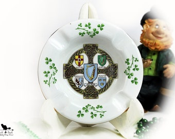 Celtic Cross with Shamrocks Trinket Dish,  Vintage Arklow Pottery Irish Souvenir Ashtray, Vintage St Patrick's Day Decor, Irish Memorabilia