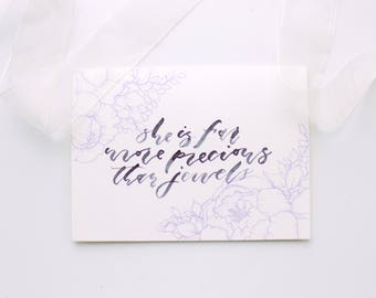 She is Far More Precious Than Jewels | Proverbs 31 Card | Mother's Day Card | Hand-Drawn Peonies Card | Hand-Lettered Card
