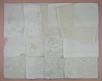 Vintage Hanky Lot,Wedding Hanky Lot,One Dozen White Wedding Vintage Hankies Handkerchiefs (Lot #88)