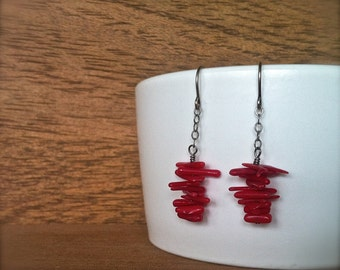 red coral branch earrings