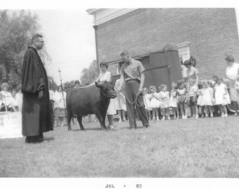 """Vintage Snapshot """"Grade School Pageant"""" 1960's Blessing Of The Steer Priest Found Vernacular Photo"""
