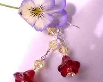 Siam Tulip Flower Earrings w Jonquil Swarovski Crystals