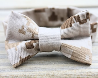 Military Cammie Adjustable Bow Tie for Boys (USMC Desert/Woodland, Army, Navy, Air Force), Homecoming, Military Camo Accessory