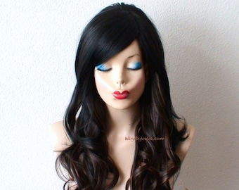 1960's Hairstyle wig. Black/Brown/Auburn Ombre wig. Long curly hair wig. Heat resistant synthetic wig for daytime use or Cosplay.