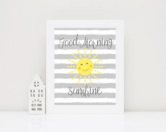 Good Morning Sunshine Nursery Wall Art Printable Nursery Art, Gender Neutral Nursery Decor for Nursery Printable, Sun Nursery Print for Boys
