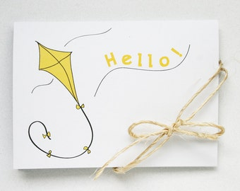 Hello Spring Stationery -- A Breezy Hello -- The Little Kite -- Card and Envelope Set