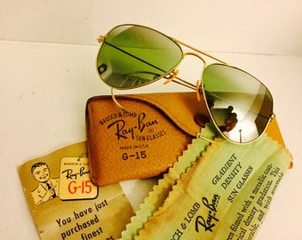 vintage 12k GF Aviator  Ray Ban sunglasses double Gradient mirrored Green USA BL Bausch & Lomb  52mm W/ Case