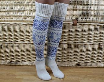 Knit wool knee high socks, Christmas knit long socks, Norwegian blue knee socks, Deer knee socks, Womens winter long socks, Christmas gift
