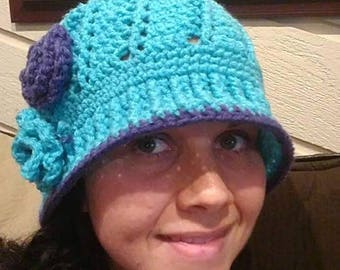 Pale Turquoise and Purple Crocheted Adult XXL Flower Hat