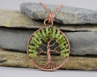 Gardening gift Peridot Necklace Pendant Copper Tree-Of-Life Necklace Pendant  AUGUST Birthstone Necklace Jewelry for women Mother day gift