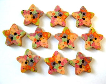 15 Buttons, stars, wood, colorful ornaments, for button jewelry, scrapbooking, crafts