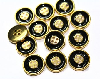 35 Sewing Buttons in Black and Gold For Fashion Crafts and Accessories