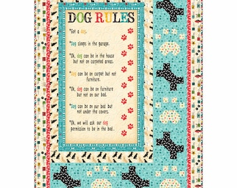 """Wilmington Prints - Dog Wisdom - 48"""" x 68"""" Wall or Lap Quilt Kit (includes fabric for top of quilt & binding) - AAFQK-401"""