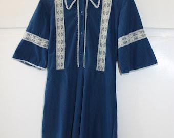 Vintage 1970s Cowgirl Bohemian Dress | Size 8