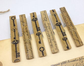 Decoupaged Clothes Pins French Style Script and Skeleton Key Trendy Clothespins  Decorative Clips Vintage Style Memo Clips Home Organization