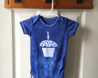 First Birthday Baby Bodysuit, Cupcake Baby Bodysuit, Baby's First Birthday Shirt, Blue Cupcake Baby Bodysuit (12 months)