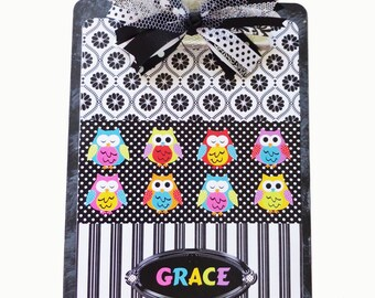 Teacher Gift Clipboard Personalized Owls All in A Row 2 sided