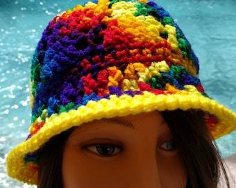 Rainbow Crocheted Cloche Hat