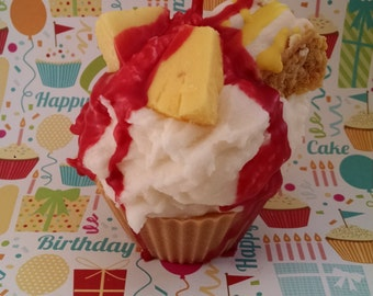 Ananas Kuchen, Soja-Cupcake-Kerze, Dessert Kerze, alle natürlichen Soja-Wachs, Bäckerei Kuchen, Handpoured Kerze, stark duftende, kreative Kerzen