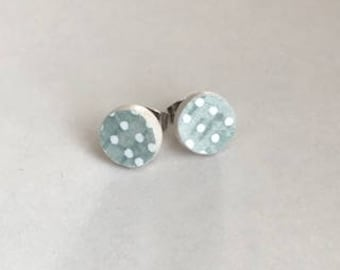 Polka Dots//stud earrings//Paperclay//stainless steel