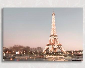 Paris Photograph on Canvas, Paris Sparkle Fine Art Photo on Canvas, Twinkle Lights, Large Wall Art, French Home Decor