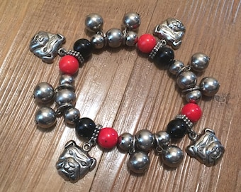 Stretchy Red, Black and Silver-Toned Beaded Bracelet with Bulldog Head Charms