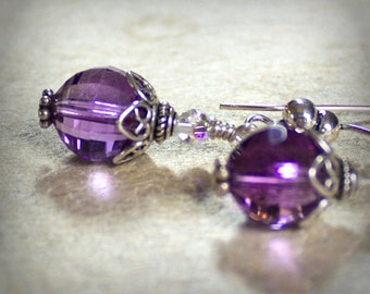 Amethyst Earrings Sterling Silver Crystal Ball Purple Natural Stone Semiprecious Microfaceted