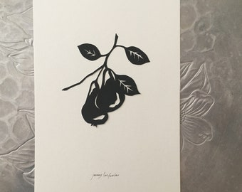 Pear Silhouette Papercutting