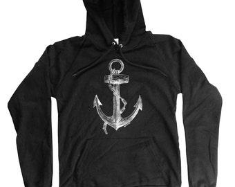 Anchor Hoodie - Organic Cotton Anchor Hoodie - Long Sleeve sailor Print - Small, Medium, Large, XL, 2XL