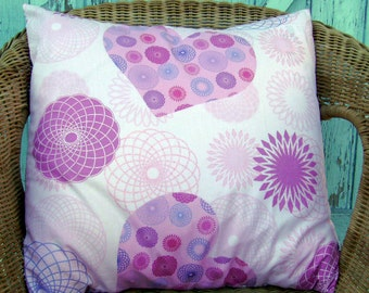 Sale pink pillow, pink pillow cover, childrens pillow cover, girls pillow cover, heart pillow cover, glitter pillow cover