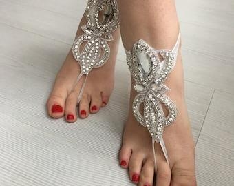 Rhinestone Anklet Beach Wedding Barefoot Rhinestone Anklet, Crystal Barefoot Sandals, Bridal Sandals, Bridesmaid Gift, Foot Jewelry