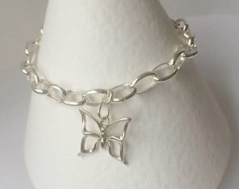 Butterfly Charm Bracelet, Sterling Silver Bracelet, 925 Silver Butterfly Bracelet, 925 Silver Jewellery, Rolo LInk Chain, Gift for Her