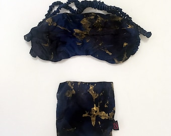 Silk Charmeuse Sleep Mask, Hand-painted and hand-dyed , 100% Mulberry Silk Filled and Silk Charmesue Cover  ONE-OF-A-KIND limited edition