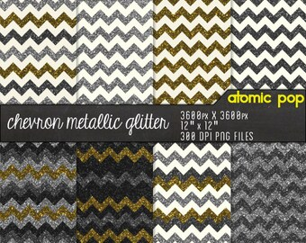 Gold & Silver Chevron Glitter Digital Paper Pack// Instant Download // Digital Scrapboking Royalty Free