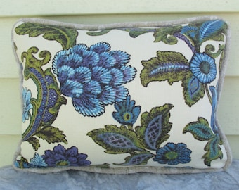 Blue Floral Pillow - Decorative Pillow - Small Pillow - Pillow Cover - Pillow with Trim - One of a Kind Pillow - Handmade Pillow